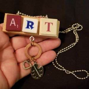 "Jewelry - Upcycled ""ART"" pendant with chain"